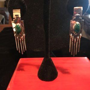 Jewelry - Beautiful Malachite & Sterling Silver Earrings